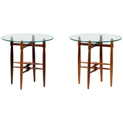 Pair of Poul Hundevad Glass and Rosewood Side Tables