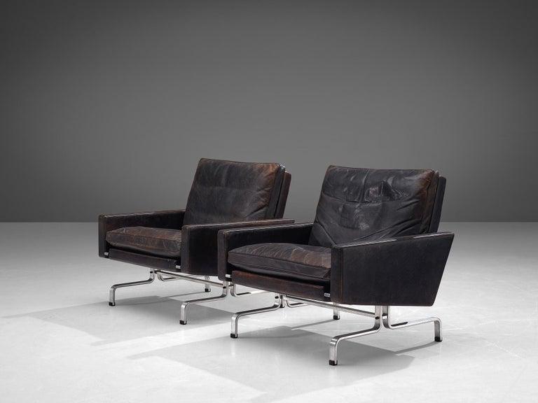 Scandinavian Modern Pair of Poul Kjaerholm 'PK31-1' Lounge Chairs in Original Black Leather For Sale