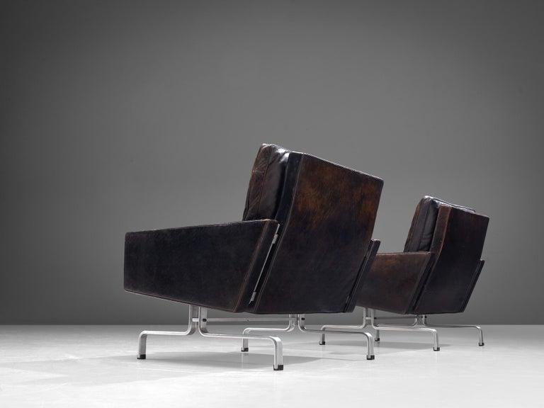 Danish Pair of Poul Kjaerholm 'PK31-1' Lounge Chairs in Original Black Leather For Sale