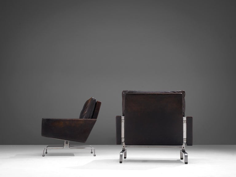 Mid-20th Century Pair of Poul Kjaerholm 'PK31-1' Lounge Chairs in Original Black Leather For Sale