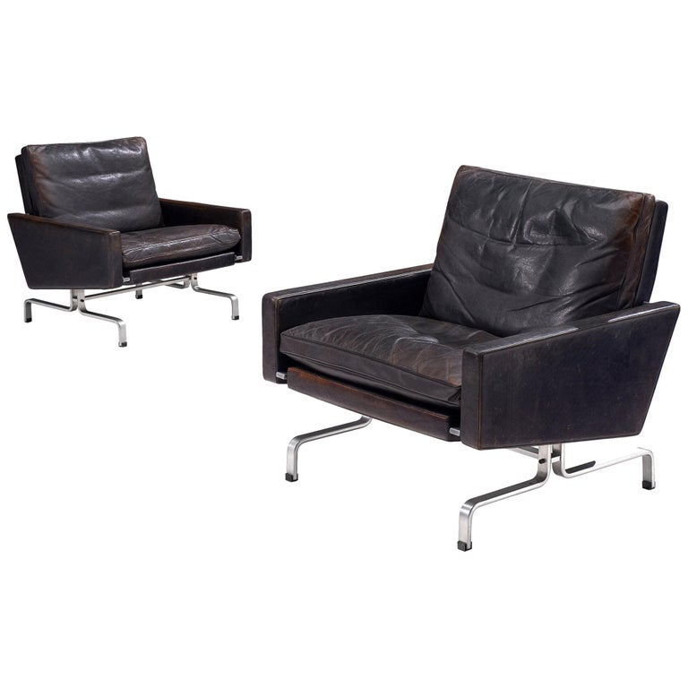Pair of Poul Kjaerholm 'PK31-1' Lounge Chairs in Original Black Leather For Sale