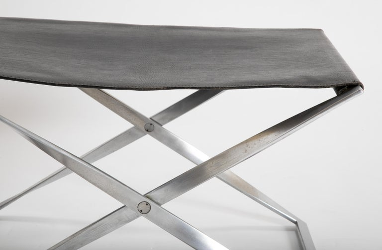Leather Pair of Poul Kjærholm PK91 Folding Stools Created by E. Gold Christensen For Sale
