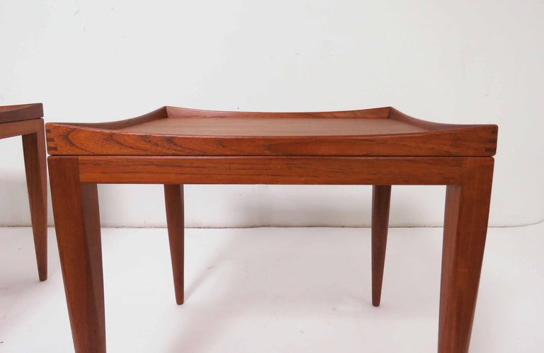 Poul M. Jessen Danish Teak End Tables with Removable Tray Tops circa 1960s, Pair For Sale 6