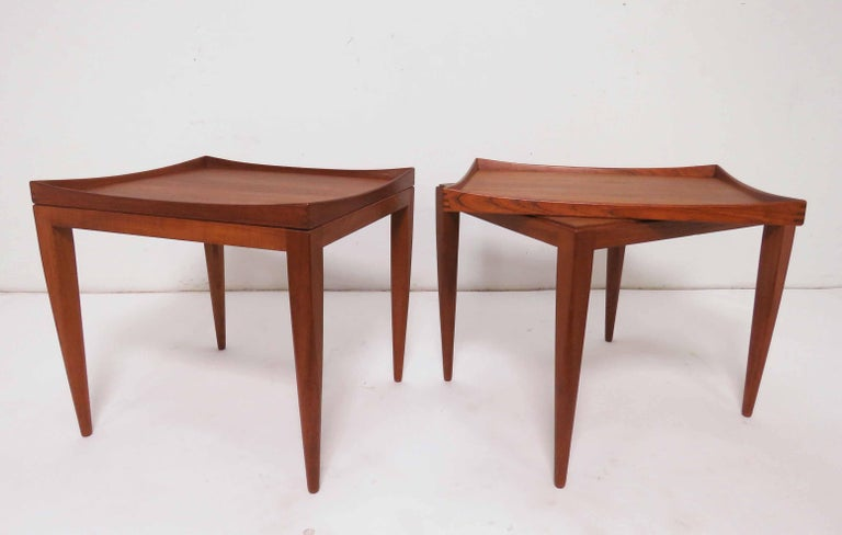 Mid-20th Century Poul M. Jessen Danish Teak End Tables with Removable Tray Tops circa 1960s, Pair For Sale