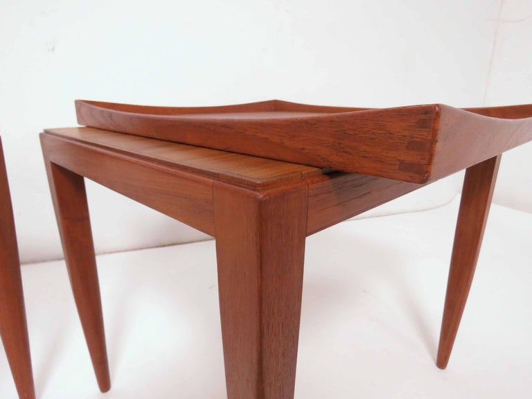 Poul M. Jessen Danish Teak End Tables with Removable Tray Tops circa 1960s, Pair For Sale 1