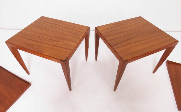 Poul M. Jessen Danish Teak End Tables with Removable Tray Tops circa 1960s, Pair For Sale 2