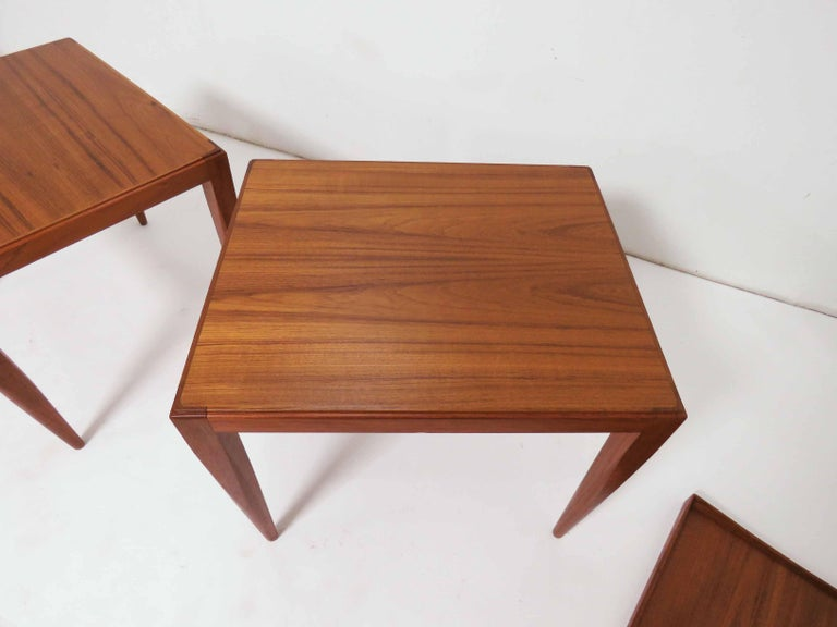 Poul M. Jessen Danish Teak End Tables with Removable Tray Tops circa 1960s, Pair For Sale 3