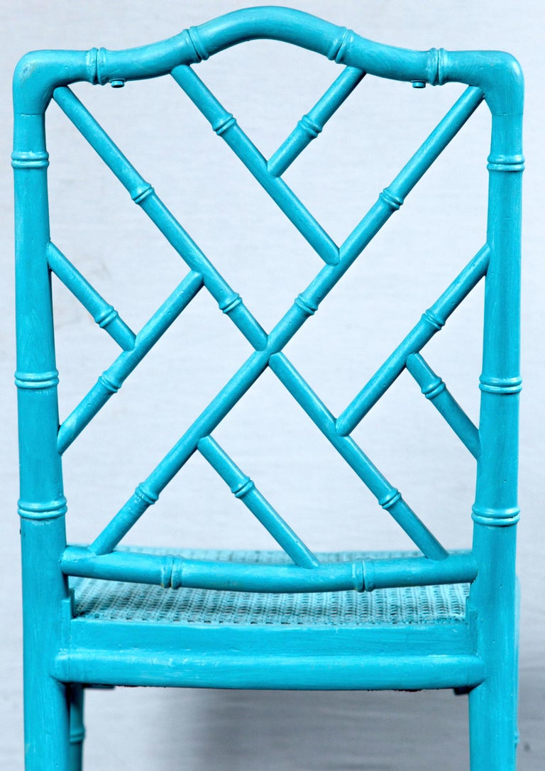 Pair of Powder Blue Armless Chinese Chippendale Chairs For Sale 3
