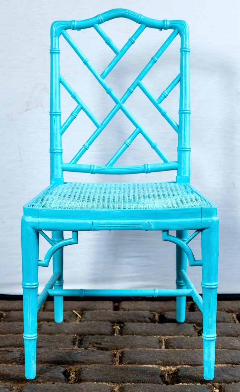 American Pair of Powder Blue Armless Chinese Chippendale Chairs For Sale