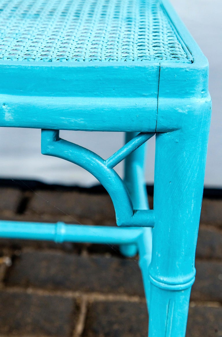 Caning Pair of Powder Blue Armless Chinese Chippendale Chairs For Sale