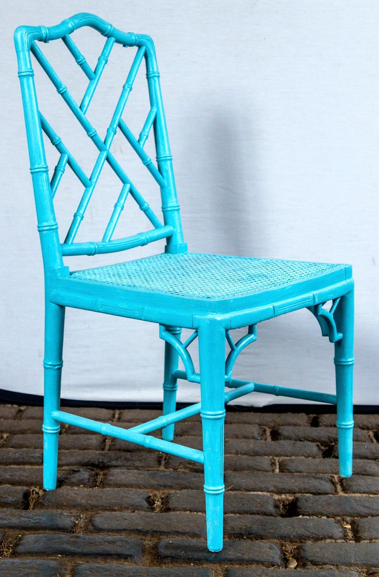 Mid-20th Century Pair of Powder Blue Armless Chinese Chippendale Chairs For Sale
