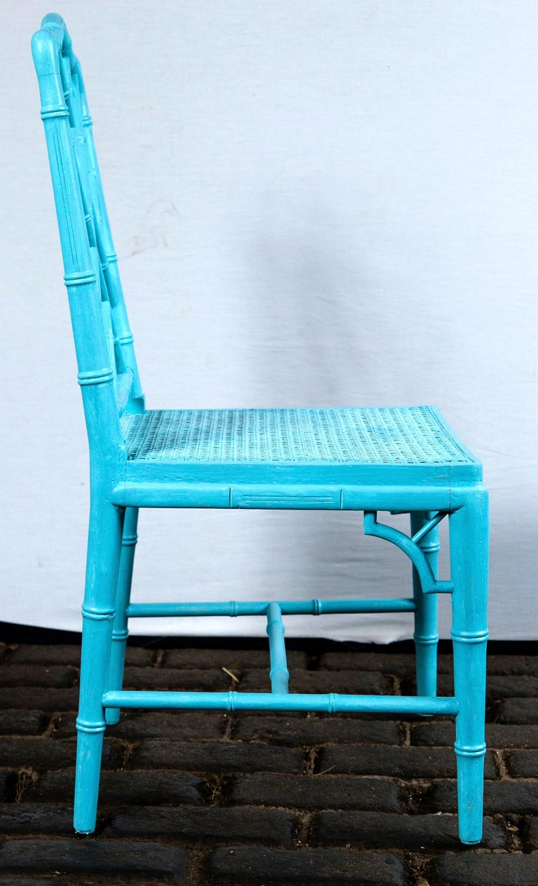 Wood Pair of Powder Blue Armless Chinese Chippendale Chairs For Sale