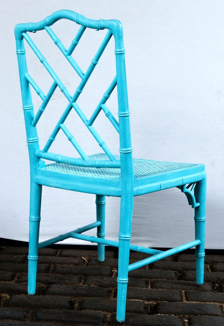 Pair of Powder Blue Armless Chinese Chippendale Chairs For Sale 1
