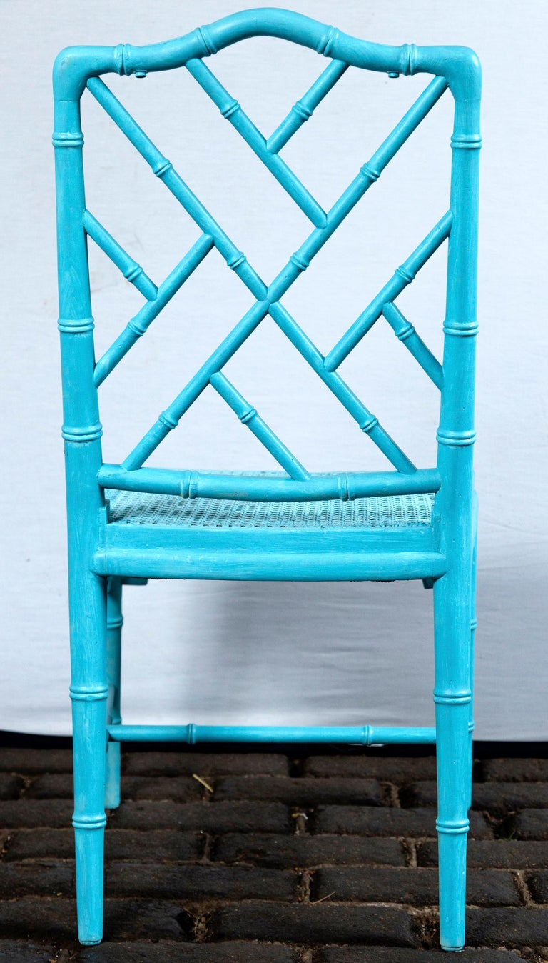 Pair of Powder Blue Armless Chinese Chippendale Chairs For Sale 2