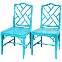 Pair of Powder Blue Armless Chinese Chippendale Chairs
