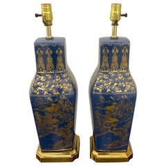 Pair of Powder Blue Chinese Export Porcelain with Gilt Decoration