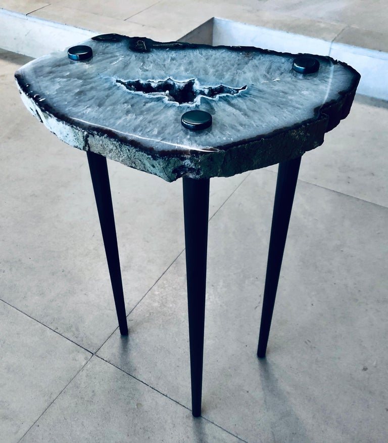 Polished Pair of 'Powers of 10' Cocktail Tables with Brass Legs by Christopher Kreiling For Sale