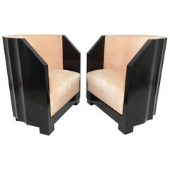 "Pair of ""Pozzetto"" Art Deco Lounge Chairs, circa 1920s"