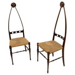 Pair of Pozzi & Verga Mid-Century Modern Italian High Back Chairs, 1950s