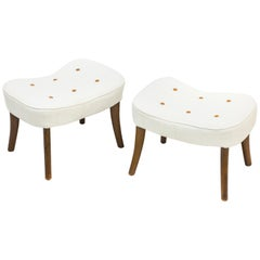 "Pair of ""Pragh"" Stools with Linen by Ib Madsen & Acton Schubell, Denmark, 1940s"