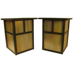 Pair of Prairie Style Arts & Crafts Outdoor Exterior Sconces