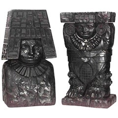Pair of Pre-Colombian Style Ebonized Wood Carved Figures