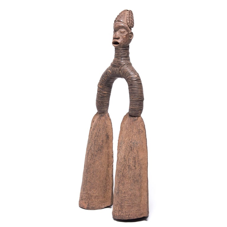 Carved Pair of Pre-Colonial Cameroonian Double Bell Currency For Sale