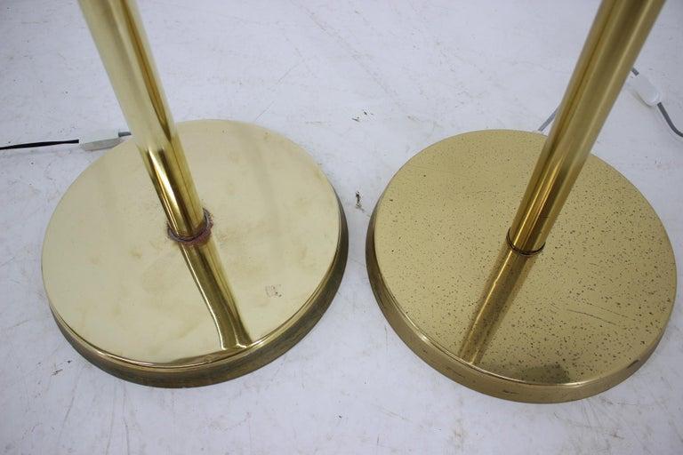 Mid-Century Modern Pair of Preciosa Gold Floor Lamp, Czechoslovakia For Sale