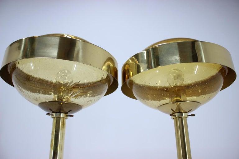 Pair of Preciosa Gold Floor Lamp, Czechoslovakia In Good Condition For Sale In Praha, CZ