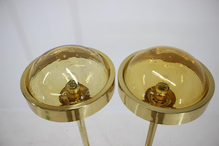 Late 20th Century Pair of Preciosa Gold Floor Lamp, Czechoslovakia For Sale