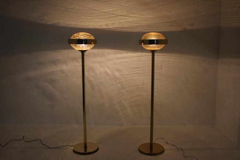Pair of Preciosa Gold Floor Lamp, Czechoslovakia For Sale 1