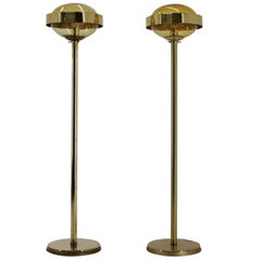 Pair of Preciosa Gold Floor Lamp, Czechoslovakia