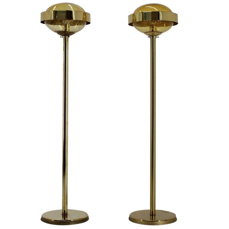 Pair of Preciosa Gold Floor Lamp, Czechoslovakia For Sale