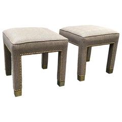 Pair of Classic Glen Plaid Newly Upholstered Mid-Century Modern Ottomans