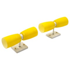 Pair of Prescolite Wall Sconces, Each with Up and Down Light, Thick Yellow Glass