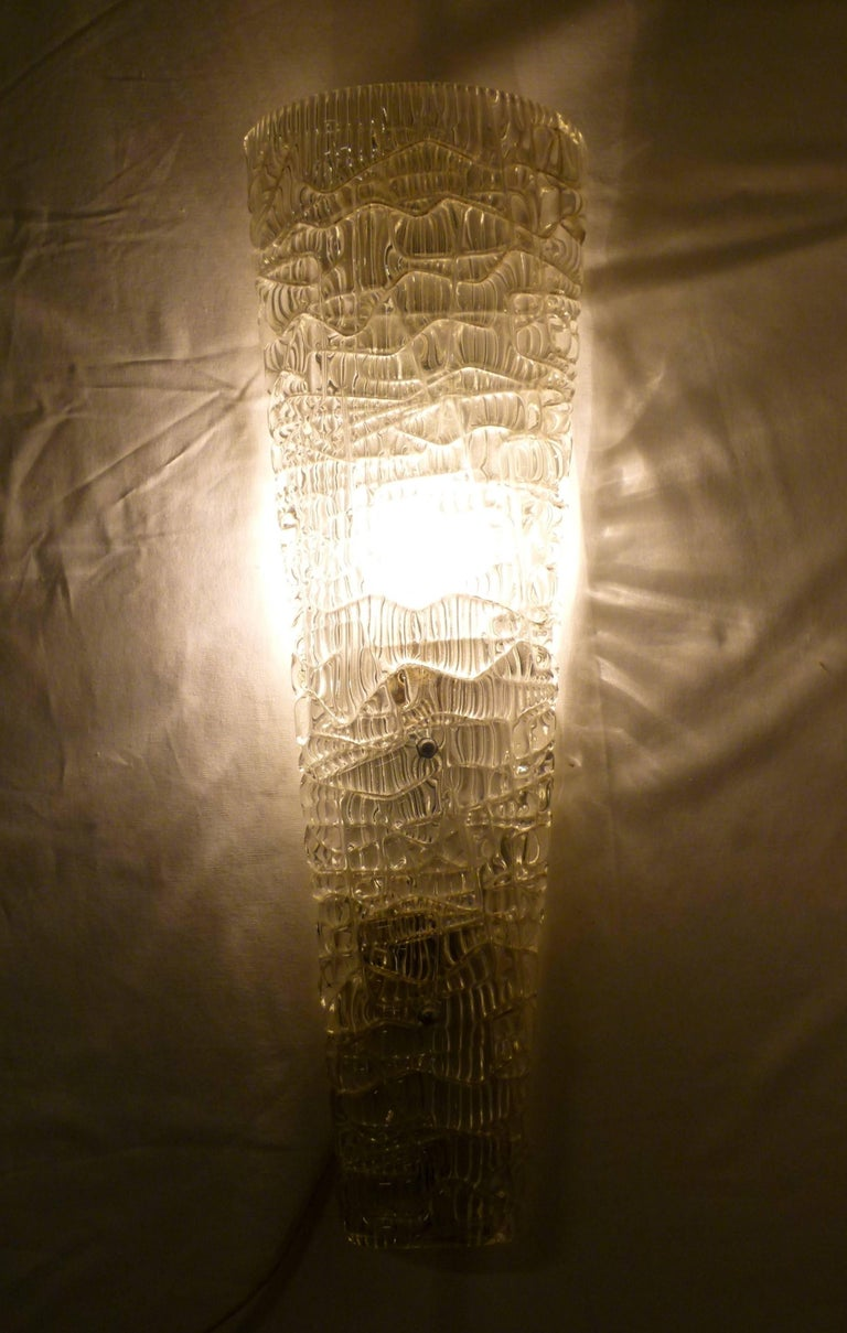 Pair of Pressed and Molded Glass Sconces by Maison Arlus For Sale 1