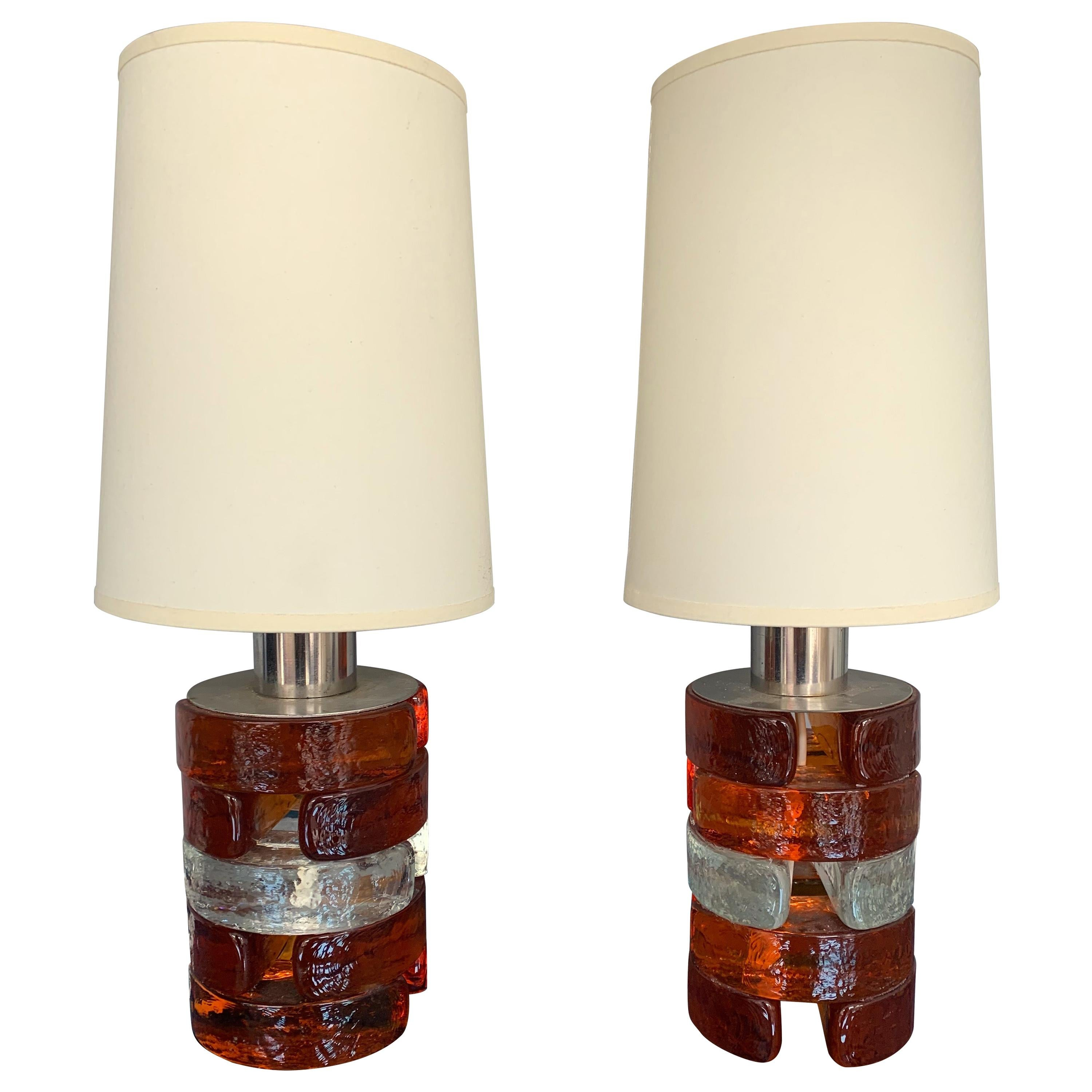 Pair of Pressed Glass and Metal Lamps by Biancardi, Italy, 1970s
