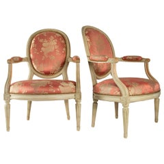 Pair of Pretty Cameo Backed Armchairs in the Style of Louis XVI