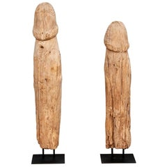 Pair of Primitive Carved Wood Phallic Fertility Sculptures