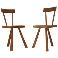 Pair of Primitive French Oak Milking Chairs Jean Touret for Atelier Marolles