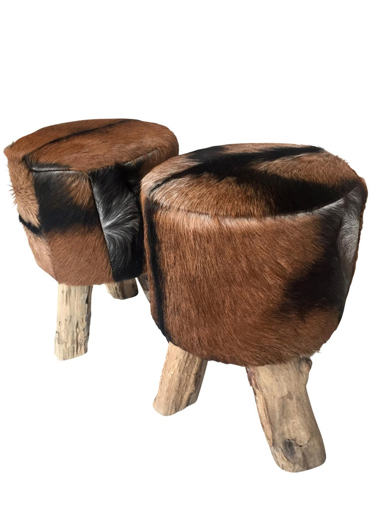 African Pair of Primitive Nubuck Hide Stools with Wood Legs For Sale
