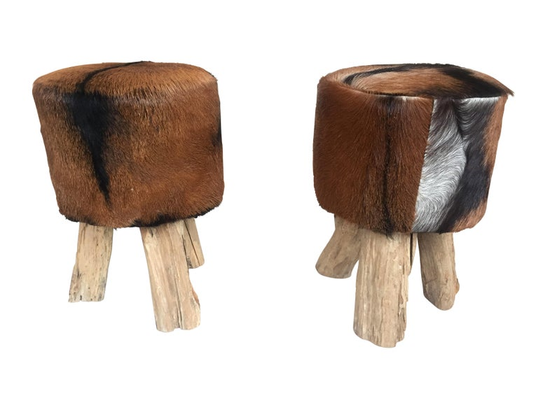 Pair of Primitive Nubuck Hide Stools with Wood Legs For Sale 1