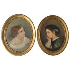 Pair of Primitive Portraits of Children, circa 1800