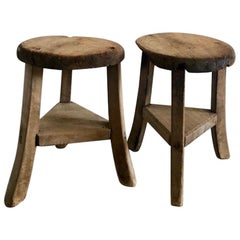 Primitive Wooden Stools with Brown Patina