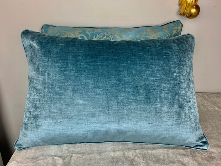 Pair of custom pillows made with printed cotton fronts and linen velvet backs. Self cording. Down filled inserts.
