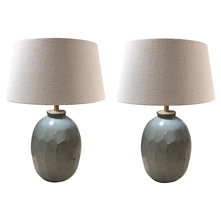 Pair of Prism Cut Pale Blue Glass Lamps, China, Contemporary