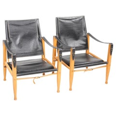 Pair of Pristine Midcentury Lounge Chairs in Patinated Leather by Kaare Klint