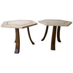Pair of Probber Blue, White, Brown and Gold Terrazzo Mahogany Tripod Side Tables