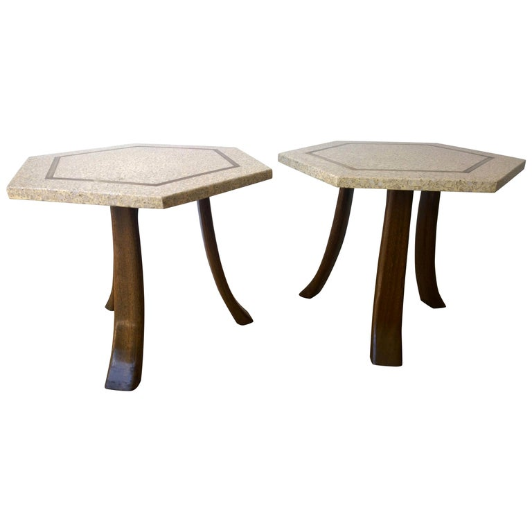 Pair of Probber Blue, White, Brown and Gold Terrazzo Mahogany Tripod Side Tables For Sale