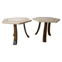 Pair of Probber Blue, White, Brown & Gold Terrazzo Mahogany Tripod Side Tables